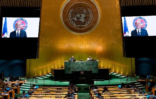 El primer ministro haitiano, Ariel Henry, intervino ante la 76 sesión ordinaria de la Asamblea General de las Naciones Unidas (ONU). Foto: EFE