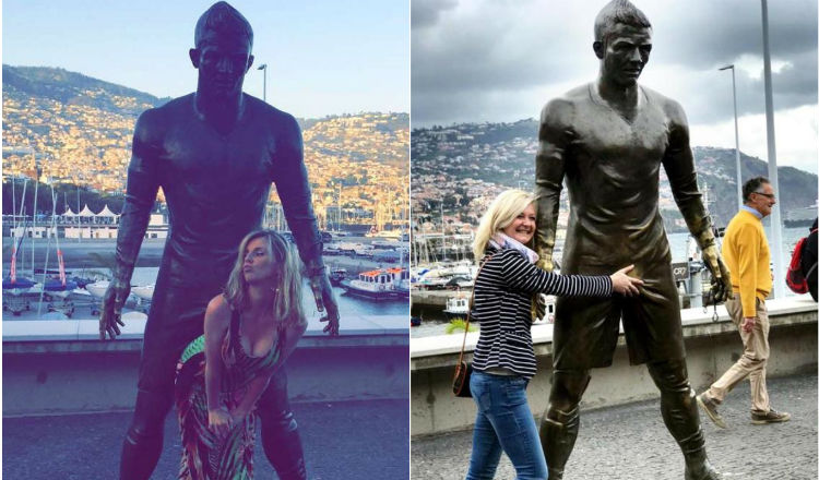 El vacilón de los turistas con la estatua de Cristiano Ronaldo. Foto Instagram