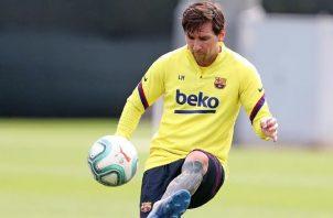 Messi en los entrenamientos con el Barcelona