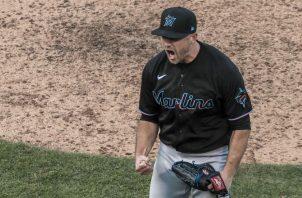 El cerrador Brandon Kintzler de los Marlins. Foto:EFE