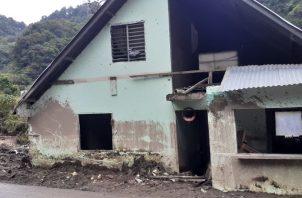 parte de la casas afectadas por las fuertes lluvias el pasado 4 de noviembre en Bambito. Aurelio Martínez