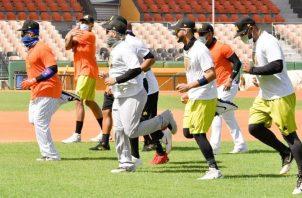 Jugadores de las Águilas en los entrenamientos. Foto:@aguilascibaenas
