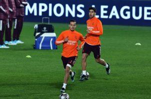 Jugadores de Real Madrid en los entrenamientos. Foto:EFE