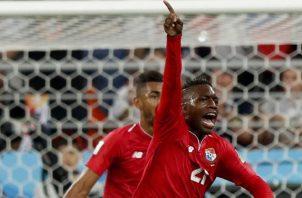 """José Luis """"Puma"""" Rodríguez festeja el gol de Panamá ante Túnez durante el mundial de Rusia 2018. Foto:EFE"""