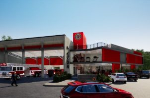Diseño del nuevo edificio de los bomberos en Guararé. Cortesía