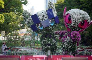 Miraitowa es la mascota de los de los Juegos Olímpicos Tokio 2020 (izq.) y la rosada Someity de los Paralímpicos. Foto:EFE