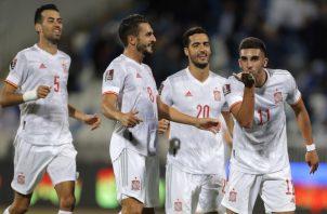 Ferran Torres de España festeja su gol . Foto:EFE