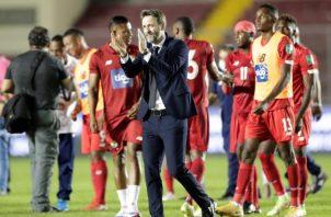 Thomas Christiansen, técnico de Panamá festeja la victoria. Foto:EFE