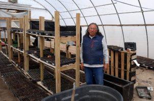 En la Reserva Indígena Pine Ridge, Milo Yellow Hair está cultivando plántulas de cosechas resistentes para regalar. Foto / Milo Yellow Hair.