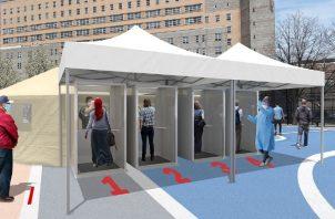 Cabinas para espacios urbanos abiertos, destinadas a efectuar 'test' y exámenes médicos para COVID-19. EFE