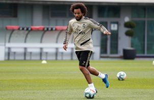 Marcelo en los entrenamientos de Real Madrid.