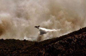 Un hombre observa su vivienda arrasada por el incendio forestal. Fotos: EFE.