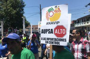 Los productores de Azuero han efectuado protestas en las calles exigiendo la eliminación de la AUPSA. Foto: Thays Domínguez.