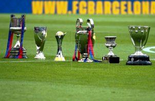 Algunos trofeos del Barcelona. Foto:EFE