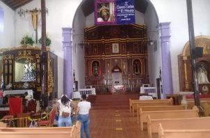 Todas las medidas de bioseguridad se siguen en la iglesia donde se encuentra la imagen del Cristo Negro de Portobelo.