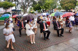 Los actos se realizaron en la plaza del parque Miguel de Cervantes Saavedra. en la ciudad de David. Foto: José Vásquez.
