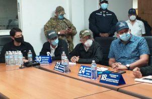 La rueda de prensa fue en la sede del Centro de Operaciones de Emergencia en David. Foto: José Vásquez.