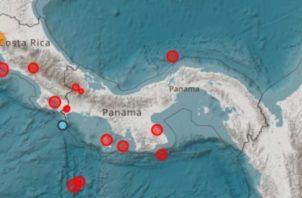 Los puntos rojos son los últimos sismos. Foto de internet