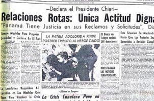 Portada de Panamá América del domingo 12 de enero de 1964. El editorial de la fecha denunciaba el saldo de sesenta años de injusticia. El legado de esos jóvenes fue que todos los panameños hoy viviéramos en libertad e independencia democrática.