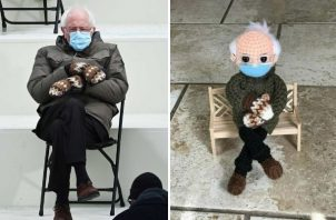 El muñeco de croché inspirado en la famosa foto del senador por Vermont y exaspirante presidencial Bernie Sanders. EFE