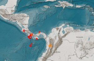 Los sismos se reportan al sur de Panamá.