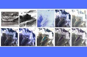 Imágenes de satélite muestran cómo ha crecido el lago Palcacocha a medida que el glaciar Palcaraju ha ido retrocediendo.