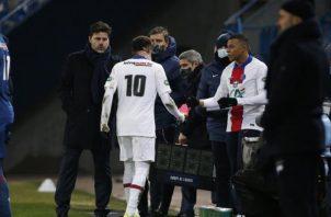 Neymar salió de cambio al minuto 60 en el partido de Copa de Francia ante el Caen. Foto: @PSG_English