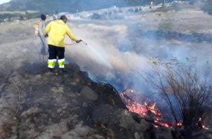 Incendio de masa vegetal próximo al Volcán Barú. Foto: Cortesía
