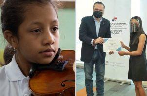 Cristina Gracia tiene 13 años. Momento en que le entregan el reconocimiento. Fotos: MiCultura