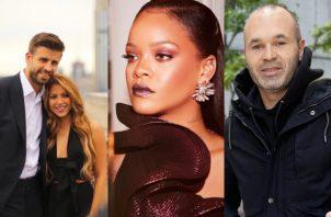 Shakira y Gerad Piqué, Rihanna y Andrés Iniesta. Fotos: Instagram