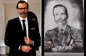 Horacio Valdés y su retrato a base de cabello. Instagram