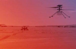 Ilustración cedida este lunes por la NASA que muestra cómo sería un vuelo del helicóptero Ingenuity en Marte.