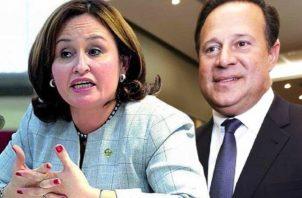 La exprocuradora general de la Nación, Kenia Porcell y el expresidente de la República, Juan Carlos Varela.