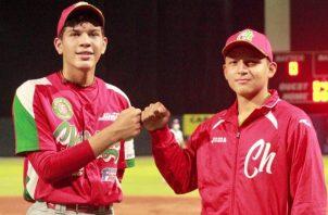 Hiram Sranziola  (izq.) y Luis Aguilar dieron triunfo a Chiriquí. Foto:Fedebeis