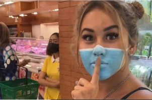 Leia Se pintó su rostro para simular una mascarilla e ingresar a un supermercado en Bali. Foto: Fotograma / Instagram
