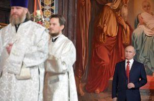 El presidente de Rusia, Vladímir Putin, asistió al oficio religioso.