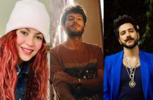 Shakira, Sebastián Yatra y Camilo. Fotos: Instagram