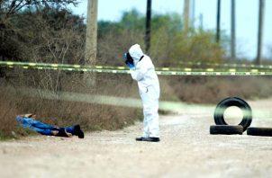 Peritos forenses trabajan en la zona donde fueron hallados cuatro cadáveres en el municipio de Pesquería, en el estado de Nuevo León (México). Foto:EFE
