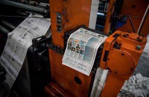 Vista de maquinas rotativas, donde se imprime el diario El Nacional, en Caracas (Venezuela).