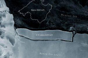 Imagen comparativa del tamaño del iceberg A-76 y la isla de Mallorca. Foto: EFE