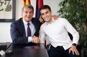 Eric García (dcha.) se reencontrará en el primer equipo con el delantero Ansu Fati. Foto: Cortesía @FCBarcelona