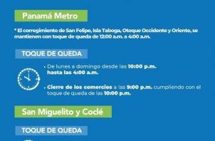 Nuevos horarios de toque de queda en Panamá Metro y San Miguelito.