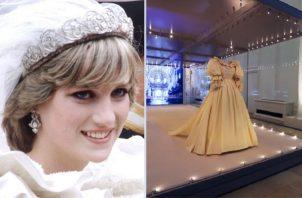 Lady Di el día de su boda y el traje en exhibición. Instagram/EFE