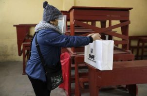 Una persona emite su voto en un centro de votación, hoy en Lima (Perú). EFE