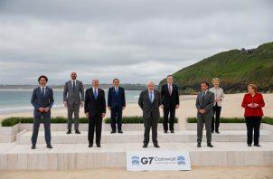 Los líderes del G7 reunidos en Cornualles. Foto: EFE