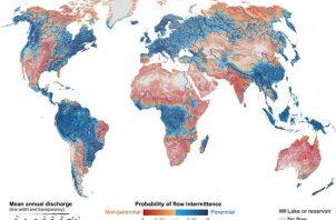 Mapa de la distribución de los cauce de agua y la posibilidad de que se sequen periódicamente.