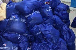 La 509 bolsas de alimentos recuperadas Las bolsas de alimentos fueron devueltas al Ministerio de Desarrollo Agropecuario (MIDA). Foto: Cortesía MP