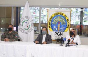 Conferencia de prensa del Ministerio Público y la Policía Nacional para hablar sobre violencia intrafamiliar. Foto: Cortesía/Ministerio Público