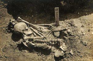 Fotografía original del individuo 24 encontrado en el yacimiento de Tsukumo. Foto: EFE