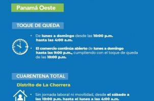 En Arraiján, Capira, San Carlos y Chame se mantiene el toque de queda de 10:00 p.m a 4:00 a.m.
